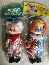 2 Vintage Brand New In Package Hard Plastic Clown Dolls 1970's Hong Kong