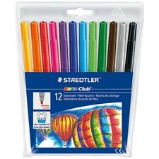 12 PACK STAEDTLER NORIS CLUB FELT TIPS FIBRE COLOURING PENS  ART SCHOOL DRAWING
