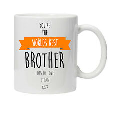 Personalised Worlds Best Brother Mug -Ideal Birthday Gift - Various Colours