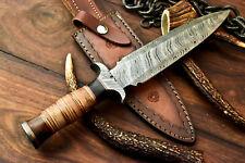 Rare!!! Custom Handmade Damascus Dagger Double Edge Knife | Stacked leather