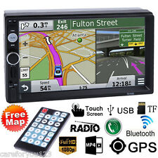 "7"" Double 2Din Car Stereo MP3 MP5 Radio Player GPS Navi Touch Bluetooth+Free Map"