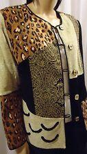 "NEW""Indigo Moon""Wearable Art Womens Lined Jacket/Coat/Paisley/Leopard/sz M WOW"