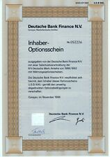 Deutsche Bank Finance N.V, Curacao, 1986, 6% Inhaber-Optionsschein (500 $)