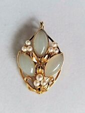 MING'S 14K Yellow Gold Pale Green Jade and Pearl Pendant Brooch