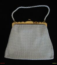 WHITING DAVIS WHITE MESH PURSE HANDBAG & ORIGINAL MATCHING CHANGE COIN PURSE