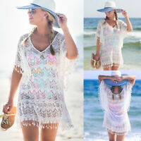 Womens Bathing Suit Lace Crochet Bikini Swimwear Cover Up Beach Dress Summer