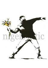 BANKSY   FLOWER CHUCKER     A3 PRINTED POSTER