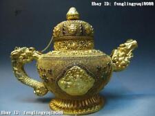 Nepal Palace Copper Bronze 24K Gold Gild  inlay ruby beryl flagon Pot Teapot