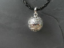 """Balinese Harmony Ball pendant genuine 925 silver 16mm """"Spirals"""" with cord"""