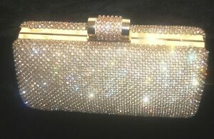 Gold Bling Crystal Diamante Diamond Evening bag Clutch Purse Party Prom Bridal
