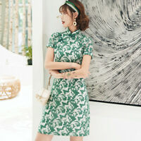 Modified Chinese Lace Cheongsam Women Mini Dress Party Gown Size S to 2XL