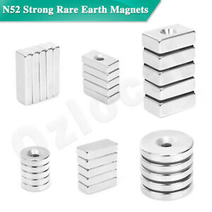 N52 Strong Rare Earth NdFeB Neodymium Magnets Block Ring Round Cuboid Experiment