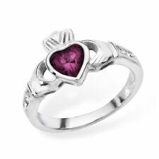 Irish Claddagh Ring Sterling Silver Amethyst Friendship Love 925 hallmarked