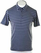NIKE Mens Polo Shirt UK 39/41 Medium Navy Blue Striped Nylon  CZ33