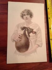 Vintage Female Football Player Post Card holding ball postcard