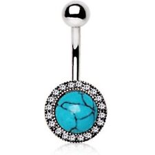 SYNTHETIC-TURQUOISE SHIELD NON-DANGLE BELLY RING NAVEL PIERCING BODY JEWELRY