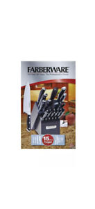 Farberware 15-piece Black Forged Triple Riveted Stainless Steel Knife Set