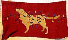 POTTERY BARN DOG WITH LIGHTS LUMBAR CREWEL PILLOW COVER, RED, CHRISTMAS, HOLIDAY