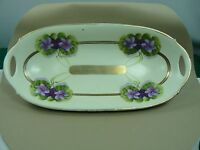 Bavaria Pottery Celery Dish 11.75 x 5.5 in  Painted Clematis Flowers Gold Trim