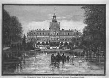 """""""Schloß Philippsruhe bei Hanau"""" Original Holzstich nach A. Hommel von 1882"""