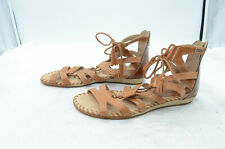 Pikolinos Alcudia Gladiador Womens Sz 38 Tan Leather Laced Back Zip Sandals