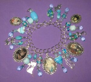 AristoCats-Cats in Fancy Dress-Altered Art Charm Bracelet-Aqua
