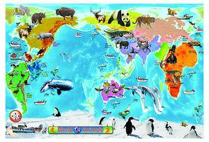 Animal WORLD Map large A2 laminated educational teaching kids children Poster