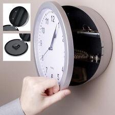 Wanduhr m. Safe Versteck Tresor Uhr schwarz Geldversteck Quarzuhr Uhrensafe 25cm