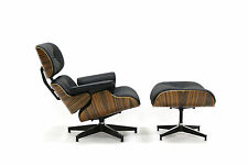 Eames Style Plywood Lounge Chair & Ottoman 100% Genuine Leather Black Palisander