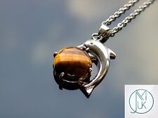 Tigers Eye Dolphin Natural Gemstone Pendant Necklace 50cm Healing Stone Chakra