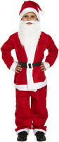 Christmas Child's Boys Santa Suit Costume Father Fancy Dress Kids with Beard 5pc