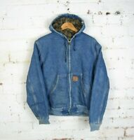 VTG 90s Carhartt Mens Denim Blue Hooded Jacket Blanket Lined Zip Up Workwear | M