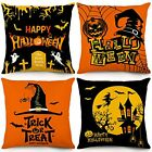 Trick or Treat Halloween Pillow Covers 18x18 Inch Set of 4 Fall Throw Pillowcase