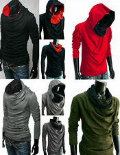 Cotton Hooded Patternless Long Sleeve T-Shirts for Men