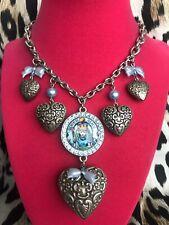 Tarina Tarantino Vintage Queen Alice In Wonderland Silver Puffy Heart Necklace
