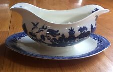 BLUE WILLOW GRAVY BOAT SERVER UNDER PLATE Johnson Bros England Transfer ware