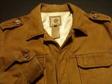 Diesel Mens Large Long Sleeve Button-Front 100% Leather Solid Brown Jacket