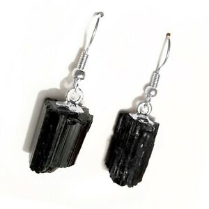 Black Tourmaline Earrings Natural Crystal Point Silver Wire Dangle Reiki Energy