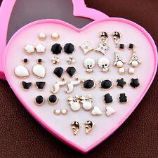 Lot 24 pairs fashion Mixed styles Black White earrings Wholesale heart box