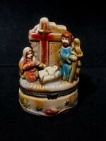 Nativity Holy Family and Cross Ceramic Trinket Box with Hinged Lid Christmas