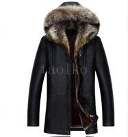 Mens Sheepskin Jacket Real Fur Lining Winter Warm Coat Outwear Overcoat Parka sz