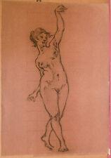 Dessin Fusain ÉDOUARD LOUIS HENRY-BAUDOT(1871-1953)  Etude de Nu  HB22