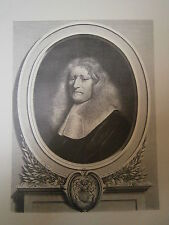 Planche gravure Portrait de Guillaume  Brisacier D'aprés Mignard Graveur Masson