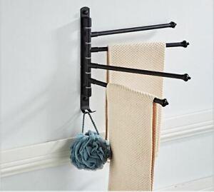 Stainless Steel 4 Swing Arm Towel Holder Bar Rails Rack Wall Mounted UK Seller