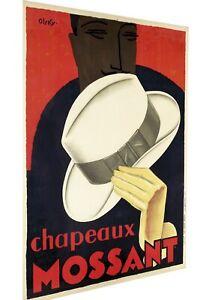 Mossant Hats men chap Vintage art deco Poster Print canvas painting Europe