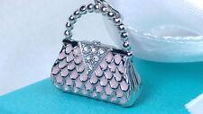 Tiffany & Co. Pink Enamel Platinum Diamond Purse Handbag Pendant Charm Bag 950