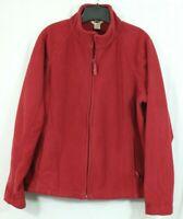 Duluth Trading Co Full Zip Fleece Jacket Women's XL Solid Red Zip Pockets