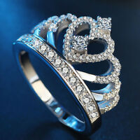 Women Elegant Silver Plated Queen Princess Crown Heart Shape Ring Jewelry Gift