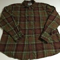 St John's Bay Mens XL Long Sleeve Plaid Brushed Flannel Shirt