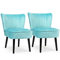 Set of 2 Armless Accent Chair Upholstered Leisure Chair Single Sofa Turquoise